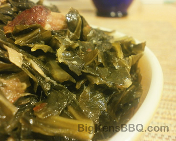 Cooked collard greens with smoked turkey