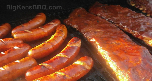 Hot links and BBQ spare ribs on grill