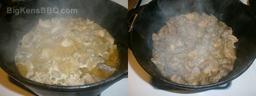 Pork for carnitas boiling in pot