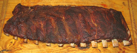 Slab of smoked spare ribs